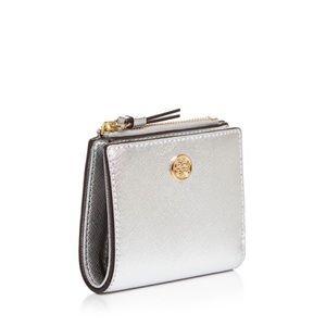 TORY BURCH Robinson Metallic Mini Wallet NWT
